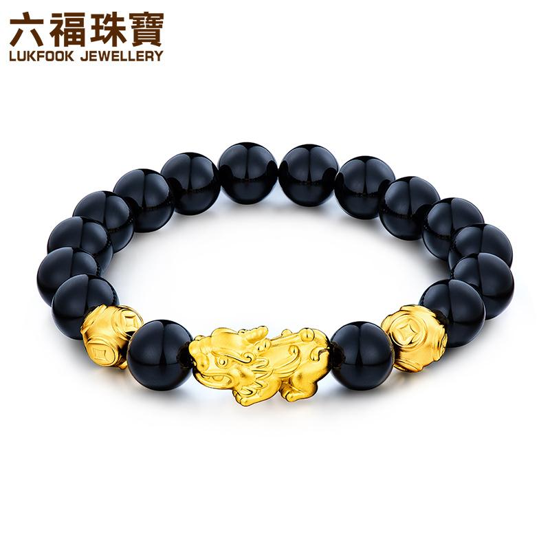 六福珠宝黄金貔貅手链硬金貔貅男女款足金玉髓手串定价GMA1S60002支持使用礼品卡