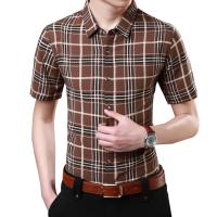 衬衫男韩版薄款修身夏季短袖中年男士春秋加大休闲免烫印花商务