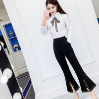 冬天套装女 两件套2017新款时尚气质小清新修身衬衣+修身阔腿裤潮