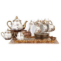 英式骨瓷咖啡杯套装欧式简约下午花茶茶具创意家用陶瓷水杯具 18金花1壶6杯碟勺1糖1奶1托1架 礼盒