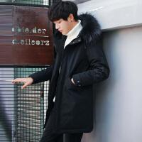 反季清仓男士冬季加厚中长款修身轻薄羽绒服青年学生韩版潮外套男 黑色
