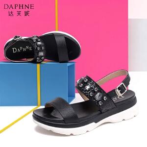 Daphne/达芙妮时尚水钻圆头厚底女凉鞋
