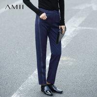 【品牌团 1件7折/2件5折】Amii[极简主义]秋装女新线条印花西装裤休闲长裤11682820