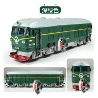 东风火车头仿真合金模型声光回力古典绿皮火车模型儿童玩具车