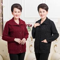 秋冬季中老年女装翻领开衫毛衣妈妈装纯色针织衫外套中年女士上衣