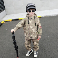 童装男童套装秋冬装儿童加绒迷彩服洋气两件套运动服