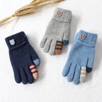 儿童手套秋冬季薄款小孩毛线冬天男童大童保暖男孩小学生五指宝宝