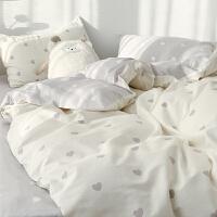 北欧风纯棉床上用品四件套100全棉ins仙女宿舍床单人三件套被套4
