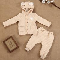 活力熊仔 童装婴儿服装秋冬童套装单排扣连帽上衣保暖卡通皮筋长裤套装