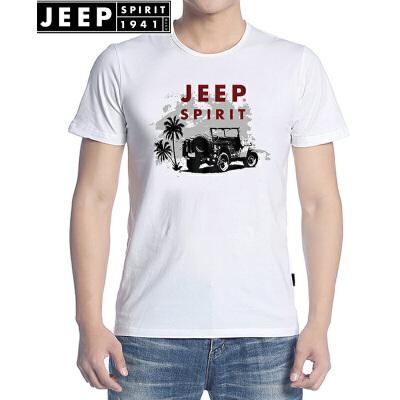 JEEP吉普短袖T恤男夏装正品男士圆领T恤宽松棉质休闲薄款T恤衫男