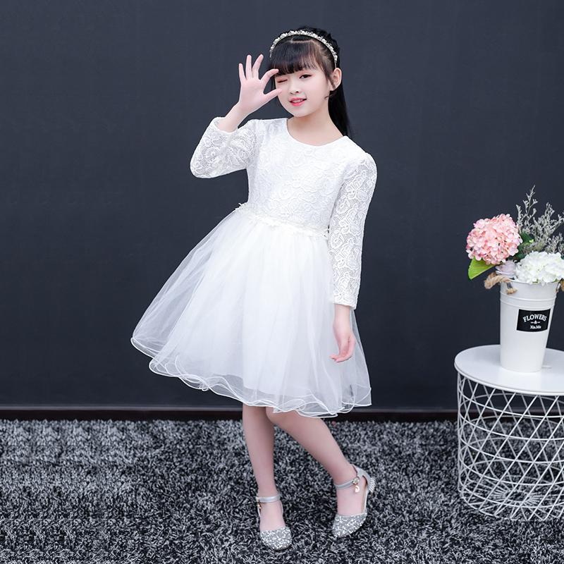 儿童装蕾丝表演礼服裙子 女童长袖公主连衣裙 小孩女孩演出服春秋
