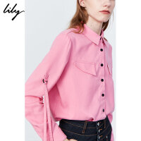 Lily2019冬新款女装工装哑光绒感荧光红撞色单排扣长袖厚衬衫4915