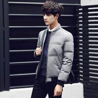 男士羽绒服2017秋季新款时尚保暖短款面包服男生外套立领休闲上衣