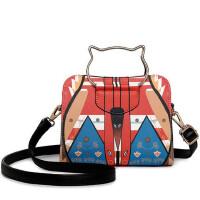 女包新款可爱小猫手提包印花几何潮流单肩包斜跨包休闲小包
