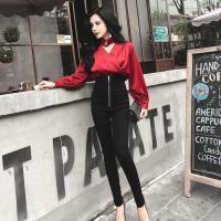 挂脖V领长袖雪纺衫+高腰修身小脚裤2018新款女装春装 时髦套装潮