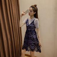 蕾丝吊带连衣裙女夏季新款版宽松纯色两件套镂空a字短裙子