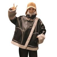 冬季韩版宽松加厚仿羊羔毛皮毛一体机车服拼接毛绒棉衣外套女 图片色