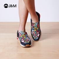 jm快乐玛丽秋季设计师时尚平底涂鸦套脚一脚蹬休闲运动鞋男鞋子