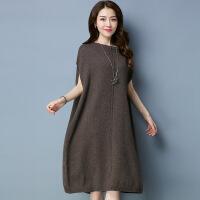 秋冬新款无袖圆领针织衫韩版中长款纯色套头连衣裙女 均码