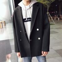 秋冬季妮子大衣男中长款韩版宽松呢子风衣双排扣青年毛呢外套加厚 黑色 M