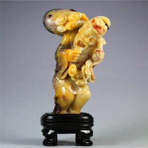寿山焓红石《财神》摆件