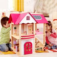 diy木制小屋女孩生日礼物过家家粉色房子别墅儿童玩具木质娃娃屋