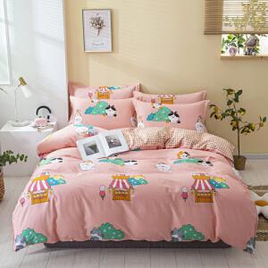 【领券立减100】家纺纯棉四件套田园风1.8m床被套床单全棉1.5米床上用品
