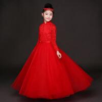 花童生日红色长袖秋 儿童礼服公主蓬蓬裙女童演出服钢琴表演主持人