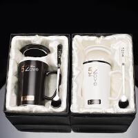 创意潮流韩版520情侣杯子一对马克杯咖啡杯陶瓷水杯牛奶杯带盖勺女友生日男友生日纪念日礼品 (礼盒装)