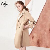 Lily2018春新款风衣女装通勤双排扣风衣卡其色系腰带风衣118130C1209