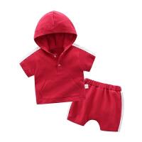 婴童装女宝宝短袖连帽套装婴儿外出服套装洋气夏装