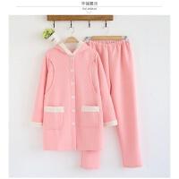孕妇月子服纯棉空气层秋冬加厚睡衣夹棉喂奶月子套装哺乳连帽 粉色