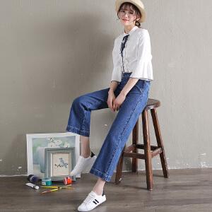 Freefeel2018秋冬新款牛仔裤女侧开直筒阔腿裤oy0776