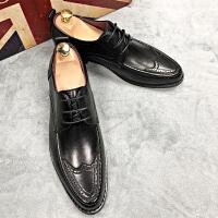男士皮鞋复古布洛克鞋子内增高潮流百搭休闲发型师鞋透气英伦韩版