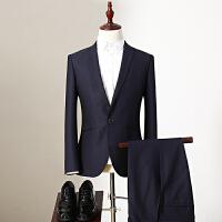 Q.男装 2017冬装新款修身一粒扣便西两件套西裤折扣男士西服套