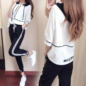 运动服两件套装女2018夏季新款韩版五分袖连帽卫衣女九分裤运动服两件套潮