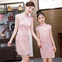 女童旗袍夏装中国风唐装古筝演出服儿童修身粉色连衣裙亲子装旗袍