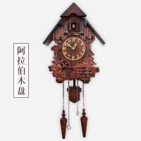 【品牌热卖】欧式实木雕刻布谷鸟挂钟儿童房客厅音乐整点报时钟摇摆创意咕咕钟 20英寸