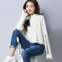 半高领毛衣女秋冬季短款线衣加厚宽松显瘦套头针织打底衫喇叭袖潮
