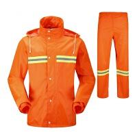 雨衣雨裤套装环卫工人长袖服装双层加厚分体反光工作雨披 桔红色 XXX