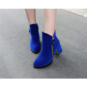 O'SHELL欧希尔新品136-Q39欧美磨砂绒面粗跟中跟女士短靴