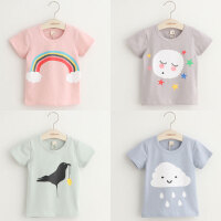 宝宝卡通印花短袖T恤 夏装韩版新款女童男童儿童上衣