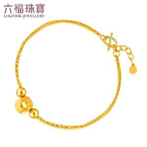 六福珠宝 黄金手链心形镂空转运珠女款足金手饰   L05TBGB0002