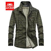 战地吉普AFS JEEP男士加绒长袖衬衫 秋冬纯棉加厚保暖格子衬衣外套男