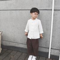 男童复古衬衫中国风儿童上衣中小童汉服春款文艺风唐装长袖衬衣潮