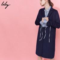 Lily双面呢大衣秋冬新款女装袖口拼接毛呢外套117419F1901