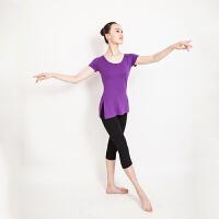 舞蹈服练功瑜伽服女开叉上衣短中袖上装健身运动服莫代尔套装