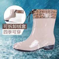 【11.11提前狂欢 满100减50 到手价35】回力女款中筒雨靴时尚雨鞋女防滑防水胶雨鞋女士鞋士中筒水鞋女橡塑套鞋女