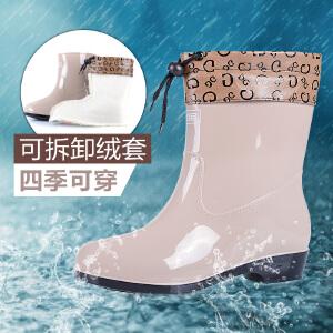 回力女款中筒雨靴时尚雨鞋女防滑防水胶雨鞋女士鞋士中筒水鞋女橡塑套鞋女