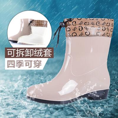 回力女款中筒雨靴时尚雨鞋女防滑防水胶雨鞋女士鞋士中筒水鞋女橡塑套鞋女官方正品 经典回力 质量保证!